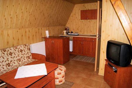 Domki nad Strumykiem - salon z kuchnią (kliknięcie spowoduje powiększenie obrazu)