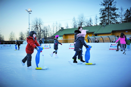 na zdjęciu lodowisko, ludzie jeżdżący na lodowisku,  (kliknięcie spowoduje powiększenie obrazu)