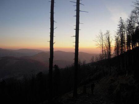 Zachód słońca na szlaku (kliknięcie spowoduje powiększenie obrazu)